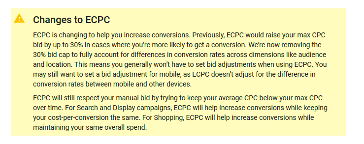 Description of the recent changes made to ECPC in the Google Support Page.
