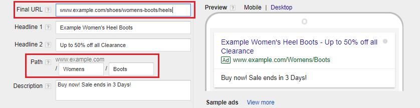 Google Ads URLs