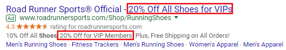 Road Runner sports ad with discount