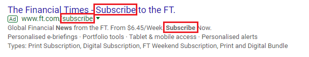 Financial Times call to action in the description