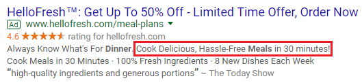 HelloFresh with a better call to action