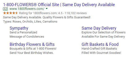 Ad for 1-800 Flowers