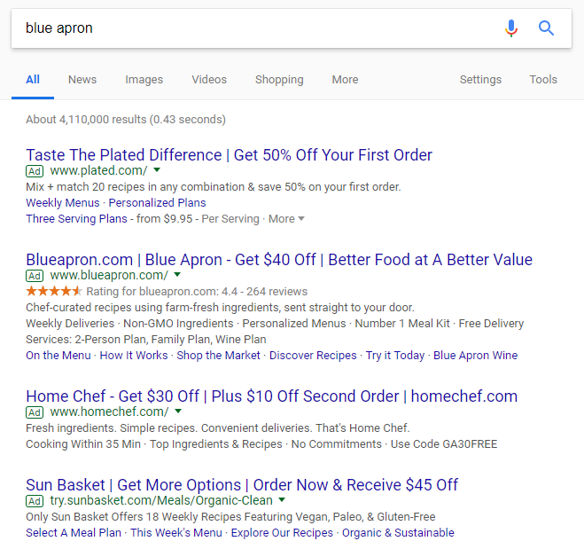 "Multiple ads show up before the organic results for ""Blue Apron"""