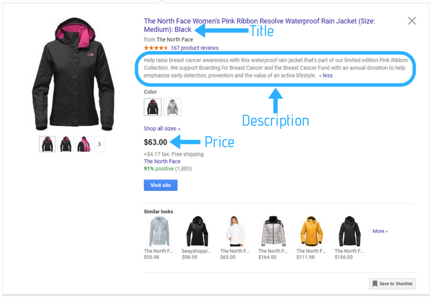 Expand Google Shopping ads to see the full description