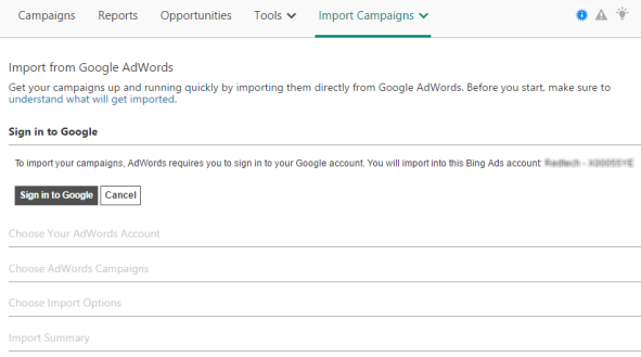 Import your AdWords campaigns to Bing Ads