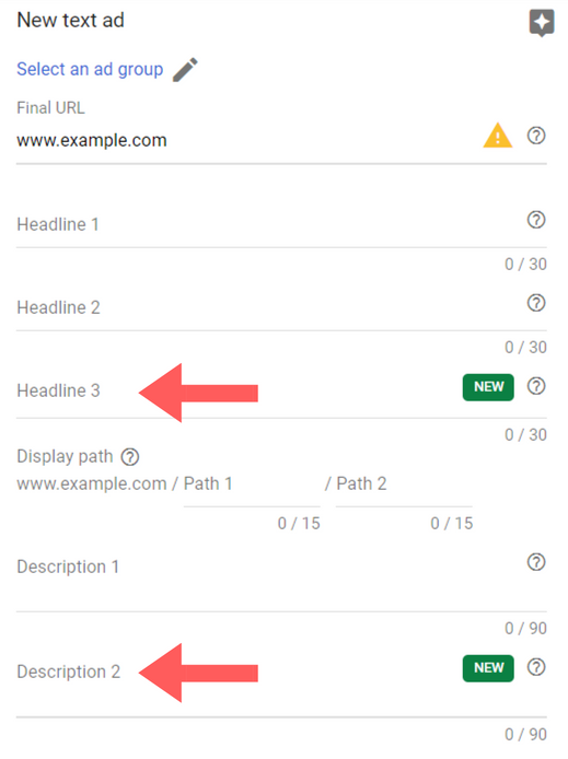 Add a third headline and second description to your ads in Google Ads